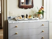 Martha Stewart Classic Cashmere Drawer and Fragrance Stand with Brass Hardware
