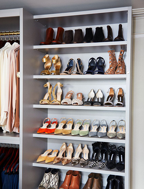 Martha Stewart Shoe Storage Shelving in her Newly Designed Closet