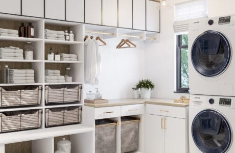 Meadow Wood Laundry Room Luxmatte Finish with Brass Hardware