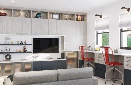 Trenton Bonus Room in Albero Grigio Light Gray Finish with Dark Hardware and Accents