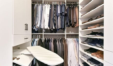 Colton Lefevre Client Story Large Walk in Closet with Black Hardware and Shoe storage