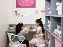 Jeanne Chan Kids Enjoying New Closet Space while Coloring