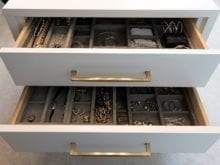 Lana Alicia Client Story Jewelry Drawer Close Up with Brown Velvet Inserts
