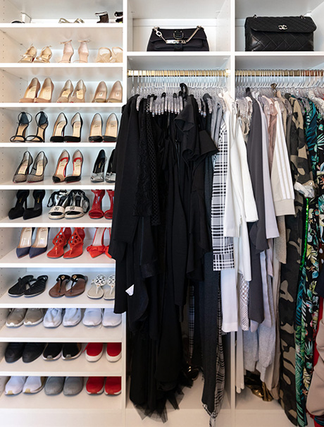 Client Story Lana Alicia California Closets Classic White Walk in Closet with Shoe and Purse Storage