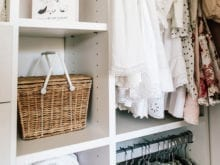 Client Story Samantha Wennerstrom California Closets Basket and Clothing in Classic White Closet