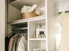 Client Story Samantha Wennerstrom California Closets Coats and Dress Handing in Classic White Closet