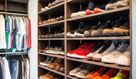 Dark Brown Closet Shelving with Storage for Dozens of Shoes