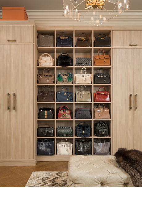 Light Brown Closet and Purse Organization System for Marigay McKee