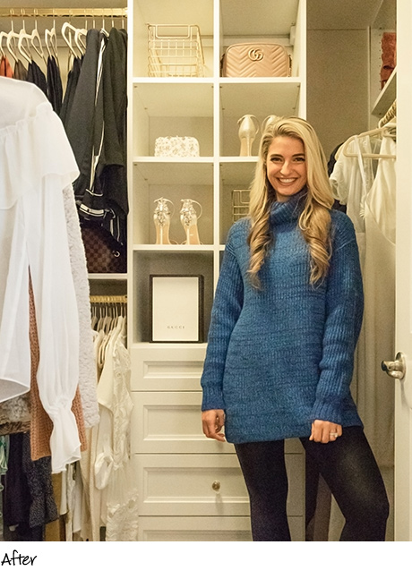 Fashion Blogger Vanessa Krombeen standing in her optimized closet - California Closets Charlotte