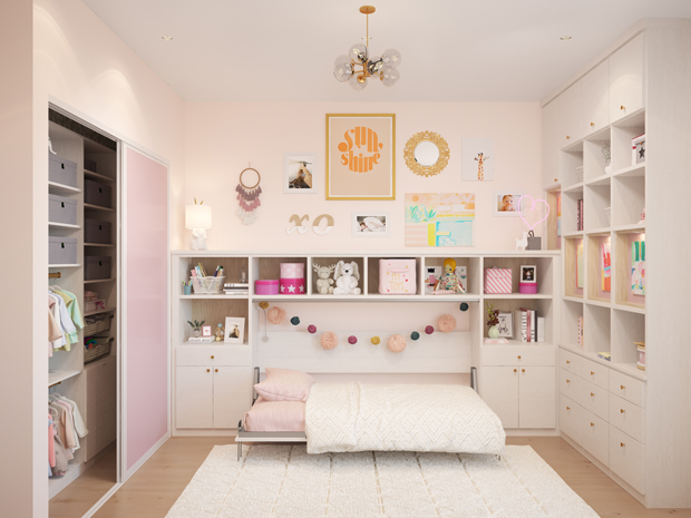 Petal Pink and white nursery with a pull down murphy bed and cubby storage