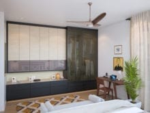 Floor to ceiling wardrobe with backpainted glass doors