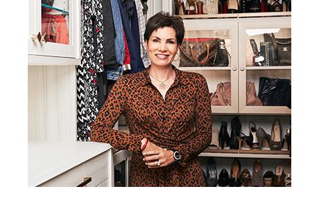 California Closets client Cindy Brunson posing in her custom closet