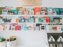 Custom shelving with childrens books organized
