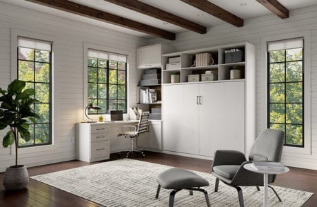 White work room room with wall bed hidden