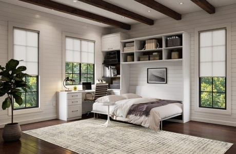 White work room room with white wall bed