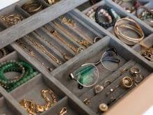 Jewelry organizer insert in California Closet cabinet for Justine Ma