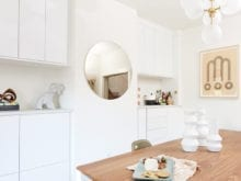Organized dining room set up for magazine editor Angela Tafoya