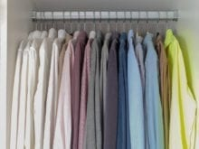 Colorful button up shirts hanging