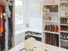 Corner of Kristen Lawler's custom closet with window, shelving for shoes and handbags
